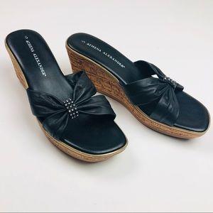 Athena Alexander Black Criss-Cross Wedge Sandals